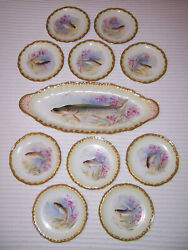Late 1890andrsquos Signed Antique French Limoges 10 Fish Plates And Platter Pink And Green