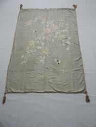 Antique Chinese Silk Hand Embroidered Wall Hanging Panel 186x130 Cm