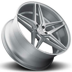 4 22 Staggered Blaque Diamond Wheels Bd-8 Silver With Polished Rims B3