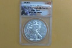 2013-w Burnished Silver Eagle Annual Dollar Coin Set Anacs Sp70