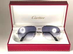 NEW VINTAGE CARTIER TANK ORSAY PLATINE SUNGLASSES 18K HEAVY GOLD PLATED FRANCE