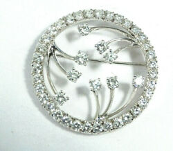 Vintage 3.72ct 43 Round Cut Diamond Brooch Pin 14k White Gold Vs2 G Color