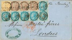 India Británica. Over 18 10, 20, 213, 22. 1869. 1/2 A Blue, Ten Stamps Al