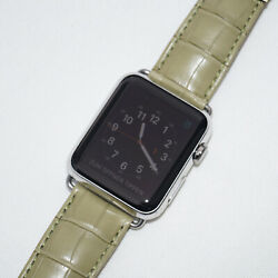 The Best Leather Watch Band Alligator / Green Strap Apple Watch 44mm Series 5