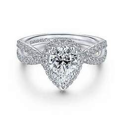 Gabriel And Co 14k White Gold Pear Shape Halo Diamond Engagement Ring