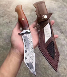 Handmade Damascus Hunting Knife Fixed Blade Rescue Survival Gear Tactical Bowie