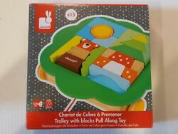 New. Janod Pull Along Trolley With Blocks, Early Learning And Motor Skills Toy