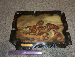 Life On The Prairie The Trappers Defence, ''fire Fight Fire. Wooden Plaque Lith
