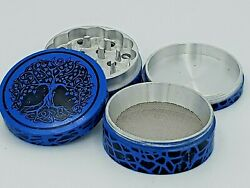 4 Pc 50mm Tree Of Life Aluminum Herb Tobacco Grinder 2 Blue