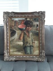 Canvas Portrait Young Boy Signed. Rare Unusual Wood Frame. Masterpiece 25andtimes21