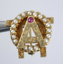 Solid 14k Gold Alpha Omicron Pi Sorority Ruby And Pearls Pin Badge 5/8 4.2g