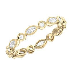 0.50 Grain Set Round And Marquise Diamonds Full Eternity Ring In 18k Yellow Gold