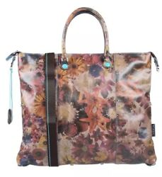 NWT GABS Convertible Brown Flower Print Leather  Tote Shoulder Bag Made In Italy