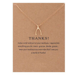 New Gold Lucky Wishbone Pendant Necklace nwt #N3000A $4.99