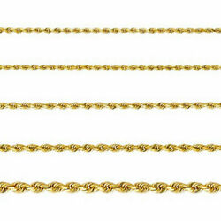 Real 14k Yellow Gold Rope 1mm To 3mm Thickness Necklace Chain Cadena Oro Collar