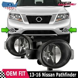 Fit 13-16 Nissan Pathfinder Clear Lens Pair Oe Bumper Replacement Fog Light Lamp