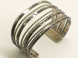 Vintage Native American Sterling Silver 4-row Cuff Bracelet 1.5 Wide At Front