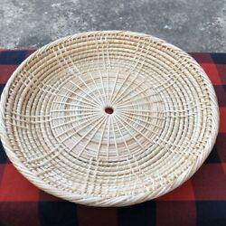 2 Wicker Rattan Bamboo Paper Plate Holders Vintage Handmade Baskets Camping Bbq