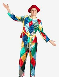 Venetian Mask Harlequin With Hat Costume Made In Venice, Italy