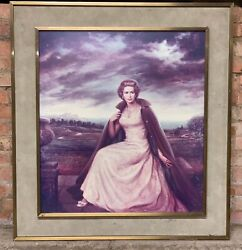 Rare Very Large Framed Lithograph Queen Elizabeth Ii By Joseph Wallace King