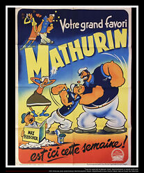 Mathurin Popeye 24 X 32 French Moyenne Fold Movie Poster Original 1950and039s