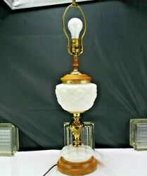 Vintage/antique Table Lamp Consolidated Glass Biscuit Jar Tufted Pillow Brass