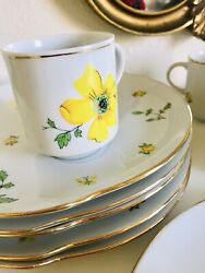 Snack Mates Fine China Vintage German Brand, 6 Plates/cups With Yellow Flowers
