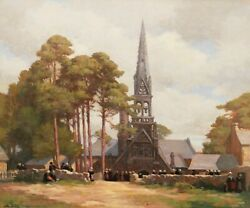 Jean-charles Duval French Oil Painting Landscape Brittany Sorry Messe Church
