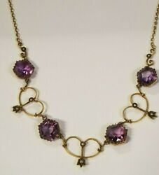 10k Yellow Gold Victorian Seed Pearl Amethyst 16 1/4 Length Necklace