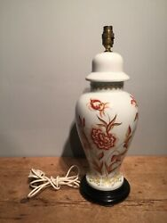 Late 20th C 'limoges' Ginger Jar Hand Painted Porcelain Country House Lamp 16