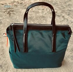 BIMBA Y LOLA Medium Deep Green Nylon Satchel w Black Handles - NWOT $50.00