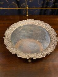 S. Kirk And Son Sterling Silver 11andrdquo Footed Tray/salver With Ball And Claw Feet