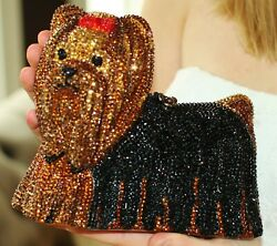 TIMMY WOODS YORKIE YORKSHIRE TERRIER DOG PURSE CLUTCH SWAROVSKI CRYSTALS RED BOW