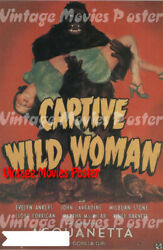 Captive Wild Woman 1943 Reproduction Print Us Horror Poster Edward Dmytryk