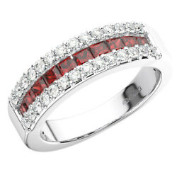 1.40ct Round Cut Diamond And Princess Cut Ruby Eternity Ring In 950 Platinum