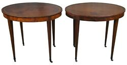 Early Baker Tooled Leather Top Oval Drum Tables Mahogany Side End Accent