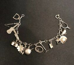 Marked 900 Silver Jewelry Vintage 14 Charm Bracelet Western Themed 7andrdquo Long