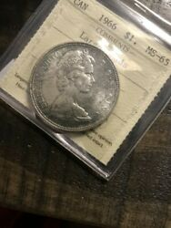 1966 Canadian Silver Dollar With Large Beads Graded By Iccs And Graded Ms-65