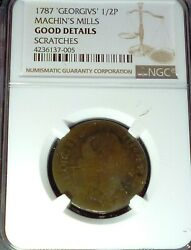 1787 Group 2 Machinand039s Mills Copper Half Penny .new York Usa Ngc Graded