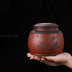 Handmade Carved Tea Caddy Real Yixing Zisha Canister Holder For Loose Tea New