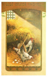 Best Easter Wishes Chickens Eggs Reprod. Postcard