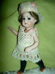 Rare Antique German All Bisque Swivel Neck Mignonette Doll With Black Stockings