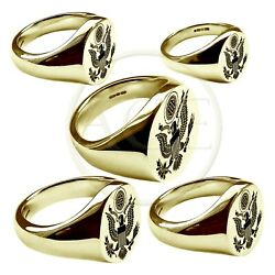9ct Yellow Gold Usa Great American Seal Engraved Oval Signet Rings Fully Uk Hm