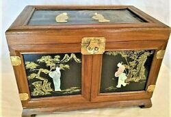 Antique Beautiful Asian Chinese Chinoiseries Jade, Wood, Lacquer Jewelry Box