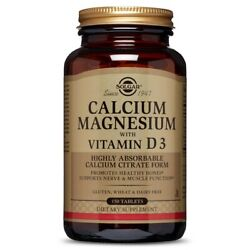 Solgar Calcium Magnesium With Vitamin D3 - 150 Tablets Fresh, Free Shipping