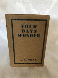 """Amazing Condition """"four Days Wonder"""" By A.a. Milne 1933 1st Edition Fine/fine"""