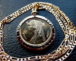Gold Plated Nugget Bezeled Cleopatra Pendant On A 18 Gold Filled Figaro Chain