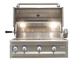 Alfresco 32 Artisan Pro Built-in Gas Grill With Rear Infrared Rotisserie Burner