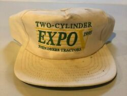 Vintage 1995 Two Cylinder Expo Embroidered White Snapback John Deere Hat Cap