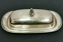 Vintage Silver Plate Butter Dish W/ Lid Pineapple Finial Wm Rogers 987